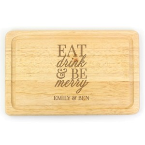 Personalised Eat Drink & Be Merry Rectangular Chopping Board