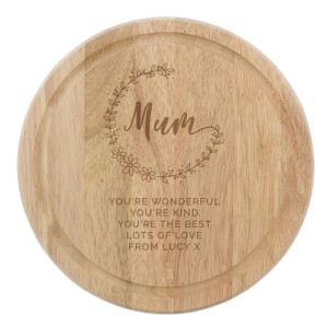 Personalised Mum Round Wodden Chopping Heart
