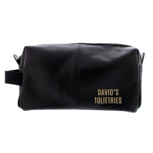 Personalised Luxury Black leatherette Wash Bag