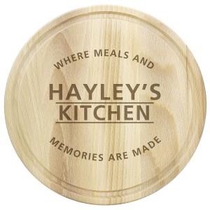 "Personalised ""Meals and Memories"" Round Chopping Board"