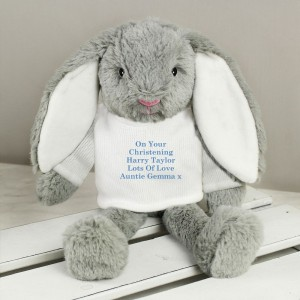 Personalised Message Bunny Rabbit In Cream Jumper - Blue Embroidery