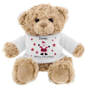 Personalised Spotty Santa Teddy Bear