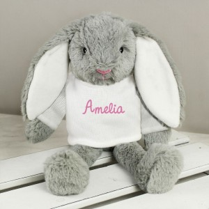 Personalised Name Only Bunny Rabbit In Cream Jumper - Pink Embroidery