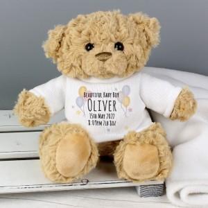 Personalised Teddy & Balloons Teddy Bear