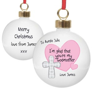 Personalised Godmother Bauble Pink