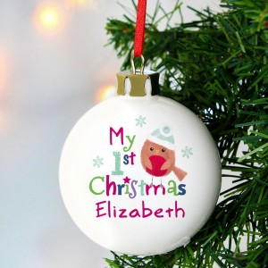 "Personalised Felt Stitch Robin ""My 1st Christmas"" Bauble"