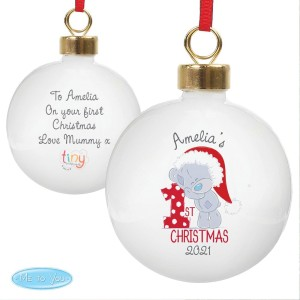 "Personalised Tiny Tatty Teddy ""My 1st Christmas"" Bauble"