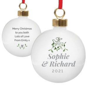 Personalised Couples Mistletoe Bauble