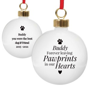 Personalised Pawprints Memorial Bauble