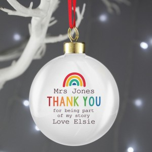 Personalised Rainbow Thank You Bauble