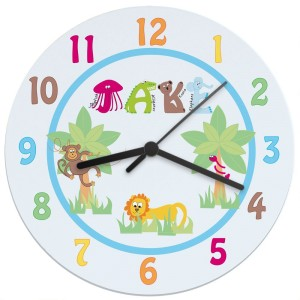 Personalised Animal Alphabet Boys Large Wooden Clock