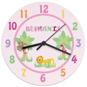 Personalised Animal Alphabet Girls Clock