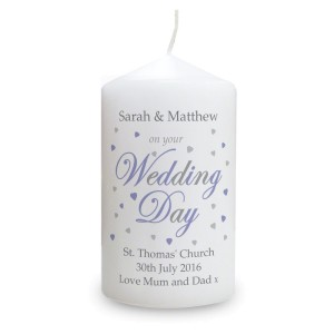 Personalised Wedding Day Pillar Candle