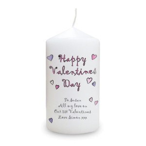 Personalised Flowers and Butterflies Happy Valentines Day Pillar Candle