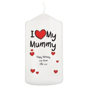Personalised I Heart My Pillar Candle