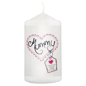 Personalised Heart Stitch Mummy Pillar Candle