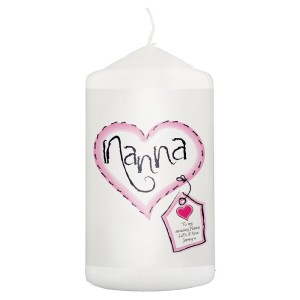 Personalised Heart Stitch Nanna Candle