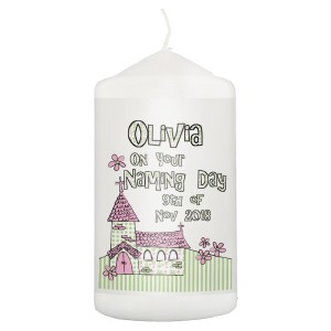 Personalised Pink Church Candle