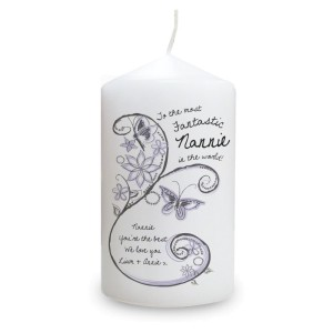 Personalised Flower Pattern Pillar Candle