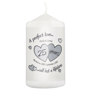 Personalised A Perfect Love Silver Anniversary Pillar Candle