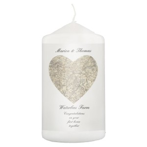 Personalised 1896 - 1904 Revised New Heart Map Pillar Candle