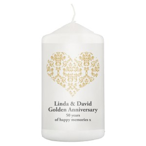 Personalised Gold Damask Heart Pillar Candle