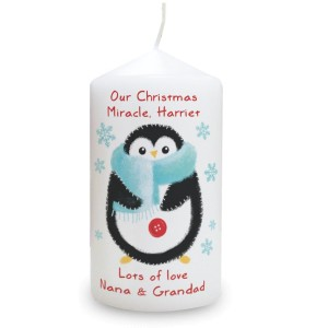 Personalised Felt Stitch Penguin Pillar Candle