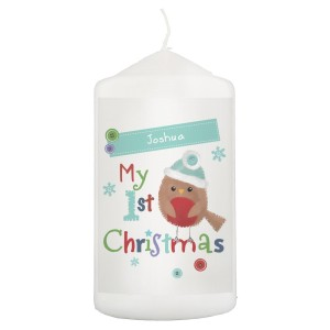 "Personalised Felt Stitch Robin ""My 1st Christmas"" Pillar Candle"
