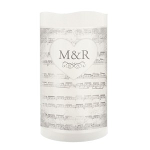 Personalised Vintage Music Manuscript LED Candle