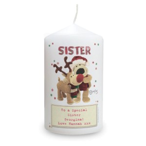 Personalised Boofle Christmas Reindeer Pillar Candle