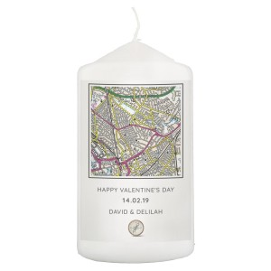 Personalised Present Day Map Compass Pillar Candle