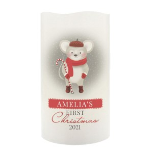 "Personalised ""1st Christmas"" Mouse Nightlight LED Candle"