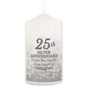 Personalised 25th Silver Anniversary Pillar Candle