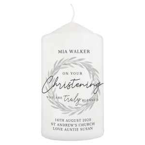 "Personalised ""Truly Blessed"" Christening Pillar Candle"