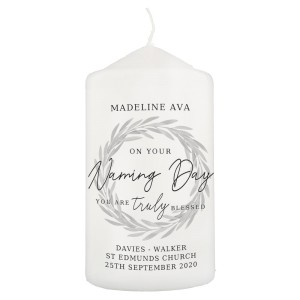Personalised Truly Blessed Naming Day Pillar Candle