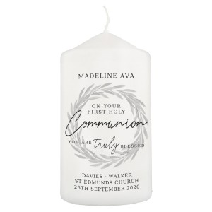 "Personalised ""Truly Blessed"" First Holy Communion Pillar Candle"