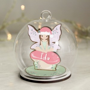 Personalised Wooden Fairy Glass Bauble