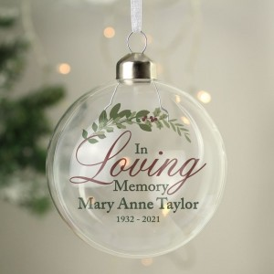 Personalised In Loving Memory Glass Bauble