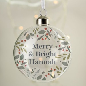 Personalised Festive Christmas Glass Bauble