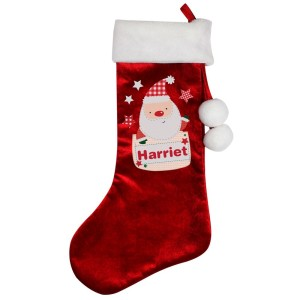 Personalised Pocket Santa Luxury Red Stocking
