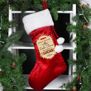 Personalised Special Delivery Luxury Red Stocking