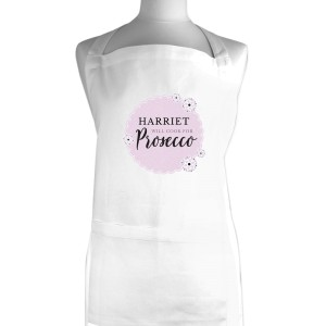 "Personalised Lilac Lace ""Will Cook for Prosecco"" White Apron"