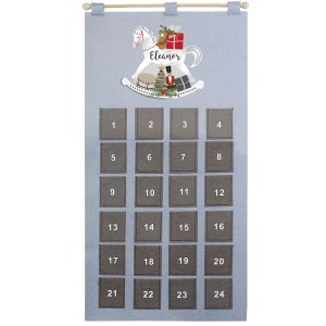 Personalised Rocking Horse Advent Calendar In Silver Grey