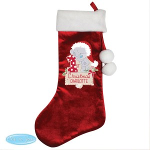 "Personalised Tiny Tatty Teddy ""My 1st Christmas"" Luxury Red Stocking"