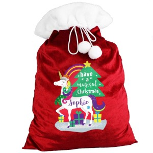 Personalised Christmas Unicorn Luxury Pom Pom Sack