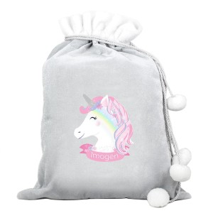Personalised Christmas Unicorn Luxury Silver Grey Pom Pom Sack