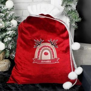 Personalised Rainbow Reindeer Luxury Pom Pom Red Sack