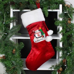 Personalised Christmas Penguin Red Stocking