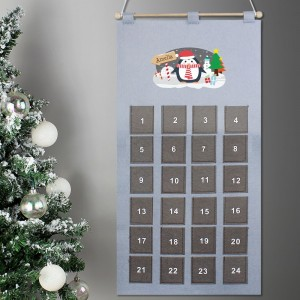 Personalised Christmas Penguin Advent Calendar In Silver Grey
