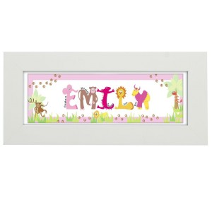 Personalised Animal Name Frame Pink